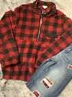Maggie Red Black Buffalo Check Plaid Half Zip Pullover Sweater Pockets Sherpa