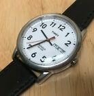 Timex Indiglo Mens Silver Leather Analog Quartz Watch Hours~Day Date~New Battery