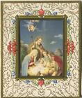 VINTAGE CHRISTMAS NATIVITY MARY JOSEPH CHRIST ANGELS SHEEP LITHOGRAPH ART CARD