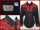 Scully Western Black Red Embroidered Floral BEAUTIFUL Womens Large Pearl Snap