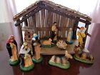 10 Vtg Nativity Holy Family W Creche SET Taiwan kings Cow donkey sheep 50s 60