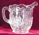 Fenton Waterlily  Cattails Creamer Clear Glass EAPG Antique 1905 Scarce As Is