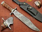 Custom made Damascus Steel Hunting Clip Point Bowie Knife With Rose Wood Handle