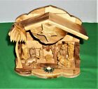 Hand Carved Olive Wood From Bethlehem Musical Nativity Set w Holy Land Pebbles