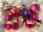 Vintage Glass Christmas Ornaments 12 Pink UFO Teardrop Indent Bell Hand Painted