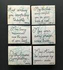 LOT OF 6 SINCERE SYMPATHY PRAYER COMFORT THOUGHTS Dots Foam Mounted Rubber Stamp