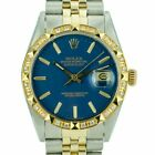 Rolex Mens Datejust 36mm 18KY&SS Blue Index Dial Pyramid Watch