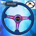 Universal 6 Bolt 350mm Steering Wheel Neo Chrome 3 Spoke Metallic Blue Godsnow
