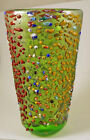 NEW MURANO MILLEFIORI GORGEOUS GREEN RILIEVO MULTICOLOR VASE ART GLASS OF VENICE