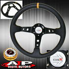 350mm Gold Slim Quick Release Deep Dish Black Steering Wheel Yellow Type-R