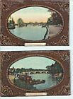 Postcard 2 views of Richmond Bridge - from East and West  - River Thames 1910s