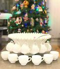 Fenton Hobnail Milk Glass Ruffled Punch Bowl 12 Cups Glass Ladle *NOS*