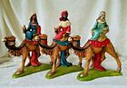 3 NATIVITY FIGURES MADE IN ITALY WISEMAN KING ON CAMEL