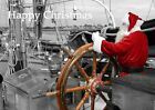 Father Christmas sailing a Thames barge at Maldon Essex, Blank Image-2-Cards