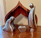 Nambe Holy Family 4 Piece Nativity with Wood Creche
