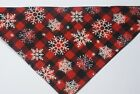 Dog Bandana OVER THE COLLARclothes pet Size SMLXL Snowflakes Red Black