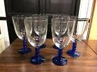 Lot of 6 Cobalt Blue Stem Clear Bowl Iced Tea Water Goblet Glasses Free Shipping