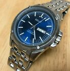Relic By Fossil Men Silver Steel Blue Analog Quartz Watch Hours~Date~New Battery