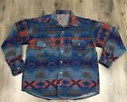 Preowned Button Down Indian Blanket Fleece Shirt Native Tribal Aztec Large XL