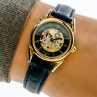 Fossil Womans Watch SK4907 Gold Tone Gear Dial Roman Black Leather Band Working