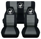 Front+Rear car seat covers black charcoal w deer hunter fits wrangler YJ TJ LJ