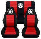 Front+Rear car seat covers black red w army star fits wrangler YJ TJ LJ