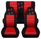 Front+Rear car seat covers black red w paw prints fits wrangler YJ TJ LJ