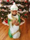Vtg Blow Mold Christmas Nativity Green Magi Wise Man King General FoamNO LITE