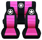 Front+Rear car seat covers black hot pink w army star fits wrangler YJ TJ LJ