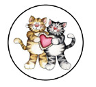 Valentine Cats Heart Sticker Candy Label Envelope Seal Scrapbooking