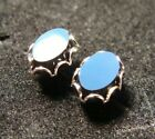 14K White Gold Earrings with Black Glass