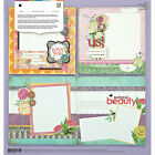 BasicGrey INDIE BLOOM PAGE KIT scrapbooking 2 SINGLE  1 DOUBLE PAGE LAYOUTS