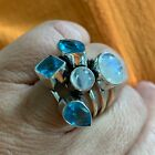 Native American Blue Flame Moonstone Topaz Sterling Silver Bypass Ring 625 Gift