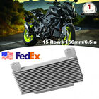 Aluminum Alloy Motorcycle Engine Oil Cooler Radiator 15Rows 166mm6.5in Universal