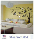 Large Black Tree Birds Memory Photo Frame Removable Wall Sticker Vinyl Decal US