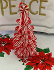 Peppermint Ribbon Candy Swirl Candy Cane Glitter Christmas Tree Ornament 5 New