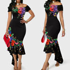 Sexy Women Floral Off Shoulder Short Sleeve Bodycon Mermaid Party Dress Newly