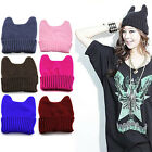 Women Girl Warm Winter Cat Ear Knitted Soft Cute Hat Elastic Beanie Cap