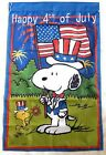 Snoopy Woodstock 4th of July 28x40 in House Flag Summer Spring Double Sided