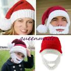 Unisex Adult Red Santa Claus Hat Cap With Beard Xmas Party Red Cap Hats SL