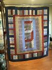 New Homemade Quilt Lap Recliner Cover Up Wall 44x 515 Red White Blue Tones