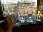 (4) Iced Tea Goblet Water Glasses Libbey Rock Sharpe 3005 NORMANDY floral etched