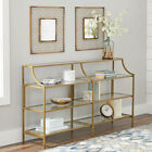 Console Table Glass Stand Display Gold Finish Living Room Metal Decor Furniture
