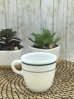 Anchor Hocking #910 Anchorware Milk Glass Coffee Cup Mug White with Blue Stripes