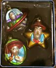 Rare Disney Pixar Toy Story Glass Christmas Ornaments Hand Painted in Tin No Lid