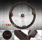 For Nissan 6 Bolt Hole Mount Steel Center Frame Brown Wood Grain Steering Wheel