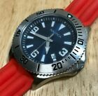 Nice Nautica Men 50m Steel Silver Blue Analog Quartz Watch Hour~Date~New Battery