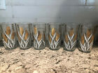 Mid-Century Modern Wheat Pattern Drinking Glasses Tumblers White Gold Set Of 6