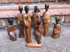 Black African Carved Wood Nativity Set Of 8 Figures RARE vintage