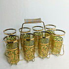 Vintage Set Of 8 Culver Signed Toledo Mid Century Highball Glasses With Rack MCM